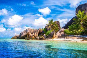 Seychelles, beach, palm trees