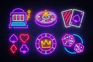 slots, neon signs, slot machine