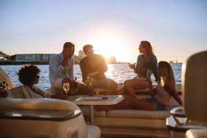 friends, boat, party